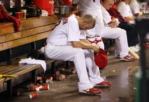 Blake Hawksworth in the dugout after the 7th inning. UPI, Bill Greenblatt