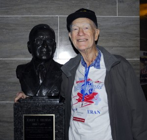 World War II veteran Francis Pearman, Moberly, visits the state capitol with other Honor Flight participants. He stands next to a bust of Harry Truman, who he remembers fondly.