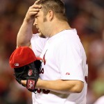 Cards' starter Brad Penny wipes his brow during Houston's four run 7th.  UPI/Bill Greenblatt
