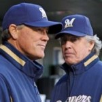 Ned Yost (L) shown in the Brewers dugout during a game with St. Louis.  Yost was named manager of the Royals, UPI Bill Greenblatt