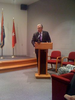 Governor Jay Nixon speaks at the ceremony welcoming the Guardsmen home