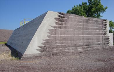 "An example of what the ""roller-compacted concrete"" looks like, used to build the new dam"