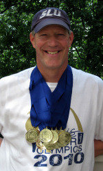 Jim Halliburton with his swimming bling, SLU Athletics
