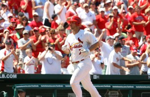 St. Louis Cardinals Matt Holliday trots to home plate after hitting his second of two home runs in the sixth inning against the Oakland A's at Busch Stadium in St. Louis on June 20, 2010. Oakland won the game 3-2. UPI/Bill Greenblatt