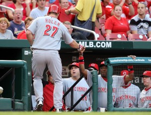Scott Rolen is greeted by Dusty Baker after his three-run homer in the first.  UPI/Bill Greenblatt