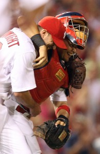 Yadier Molina congratulates Adam Wainwright after his complete game  UPI/Bill Greenblatt