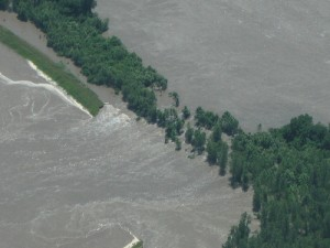 Aerial photo taken early afternoon June 17 of the levee breach in Holt County. The breach is southwest of Craig, Mo.