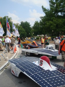 Stanford, Missouri S&T, Minnesota, and a team from Germany's cars lined up in front of the Capitol (reverse order of their arrival)