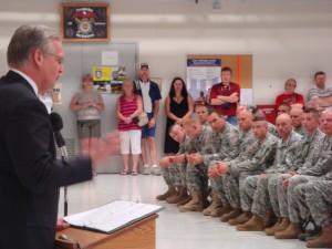 Gov. Nixon addresses the National Guard at the ceremony.