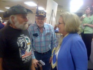 McCaskill visits with veterans following her meeting at VFW Post 280 in Columbia
