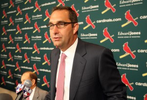 John Mozeliak speaks to reporters after it was announced the club had given the GM a  three-year extension.  UPI/Bill Greenblatt