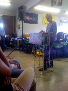 U.S. Senate candidate Robin Carnahan speaks at an event in Columbia
