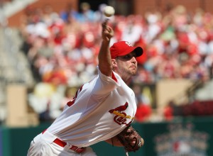 Adam Wainwright delivers a pitch against the Dodgers. UPI/Bill Greenblatt