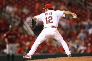 Things got so bad, the Cardinals called on Aaron Miles to pitch the ninth.  UPI/Bill Greenblatt