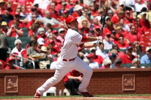David Freese in a game earlier this season at Busch Stadium.  UPI/Bill Greenblatt