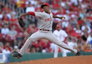 Cincinnati Reds Aroldis Chapman hit 103 MPH on the gun after replacing Travis Wood.  UPI/Bill Greenblatt