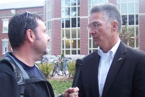 Mike Alden (R) with Missourinet Sports Director Bill Pollock during this interview at Homecoming 2010.