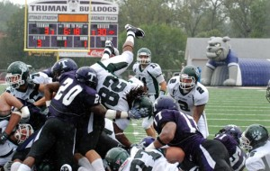 Bearcats RB Kelvin Austin fights for the end zone in a game against Truman State. (courtesy Northwest Missouri State)