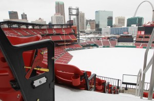 With talk of spring training and contracts picking up steam, Busch Stadium reminds us we're still weeks away from baseball. UPI/Bill Greenblatt