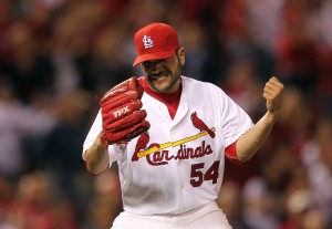 Jaime Garcia reacts after getting the final out in his complete game two hit shutout over the Brewers.  UPI/Bill Greenblatt