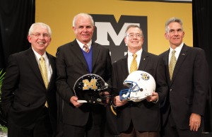 ( L to R) Mike Slive President of the SEC, Bernie Machen President of the University of Florida, Dr. Brady Deaton Chancellor of the University oif Missouri  and Mike Alden Athletic Director at the University of Missouri, pose for a photo after it was announced thet Missouri has been accepted to participate in the SEC in Columbia.  UPI/Bill Greenblatt