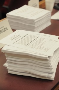 A stack of state budget bills (file photo).