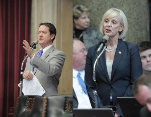 Majority Floor Leader Tim Jones (left) and Representative Stacey Newman.  (photos courtesy, Missouri House Communications)