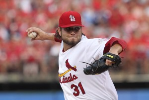 Cardinals starting pitcher Lance Lynn delivers a pitch to the Colorado Rockies in the second inning.    UPI/Bill Greenblatt