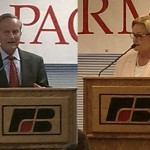 Congressman Todd Akin and Senator Claire McCaskill go before Missouri Farm Bureau's Political Action Committee, though not at the same time.