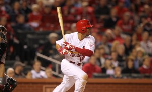 St. Louis Cardinals Jon Jay swings hitting a RBI single in the seventh inning. Jay had two hits and two RBI's to back Kyle Lohse. UPI/Bill Greenblatt