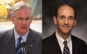 Missouri Governor Jay Nixon (left) and State Auditor Tom Schweich