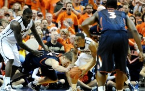 Matt Pressey battles for a loose ball during last year's Braggin' Rights game.  Courtesy Mizzou Athletics