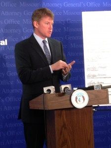 Attorney General Chris Koster announces plea agreement at the Supreme Court Building.