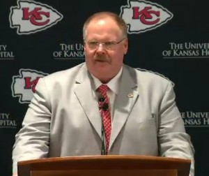 Andy Reid speaks to the media after he was formally introduced as the new head coach of the Chiefs