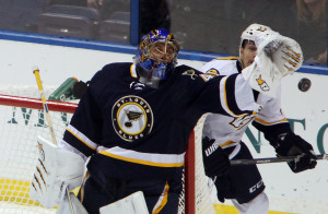 St. Louis Blues goaltender Jaroslav Halak reaches out for the puck against the Nashville Predators in the first period. UPI/Bill Greenblatt
