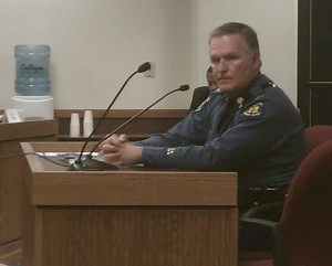 Highway Patrol Colonel Ron Replogle answers the questions of the House Budget Committee about the recent purchase of a $5.6 million plane.