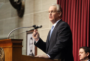 Governor Jay Nixon delivers the 2013 State of the State address.  (Photo courtesy; UPI/Bill Greenblatt)