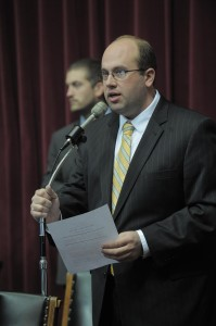 Salem representative Jason Smith says his bill would clarify how vacancies in certain statewide offices would be filled.  (Photo courtesy; Tim Bommel, Missouri House Communications)