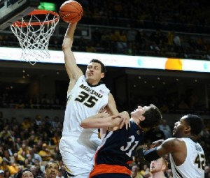 Stefan Jankovic jams home two points for Mizzou in the second half. (MU Athletics)