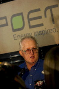 General Manager at the Macon ethanol plant, Steve Burnett, speaks to the media during a visit by President Barack Obama in 2010.  (Photo courtesy; POET Biorefining)