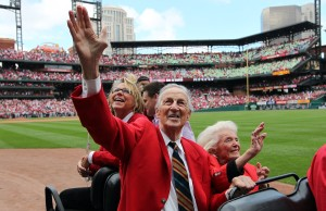 Former St. Louis Cardinals slugger and member of the National Baseball Hall of Fame Stan Musial, waves to fans during Stan Musial Day at Busch Stadium on October 2, 2010, in St. Louis.  UPI/Bill Greenblatt/FILES