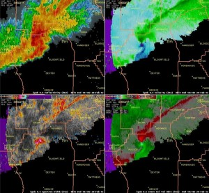 The strongest tornado to hit Missouri in 2012 occurred the morning of February 29 and killed one person in Stoddard County.  It registered an EF-3 on the enhanced Fujita scale, with winds estimated between 136 and 165 miles per hour.  (Image courtesy; National Weather Service.)