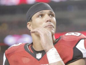 An emotional Tony Gonzalez following the Falcons win.  (photo/AtlantaFalcons.com)