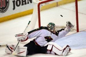 Minnesota Wild goaltender Niklas Backstrom can't get to the puck off the stick of St. Louis Blues Vladimir Sobotka of the Czech Republic in overtime at the Scottrade Center in St. Louis on January 27, 2013. The goal proved to be the winner with St. Louis on top 5-4.   UPI/Bill Greenblatt