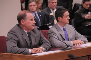 University of Missouri System President Tim Wolfe testifies on HJR 14, sponsored by House Speaker Tim Jones (right).  (Photo courtesy; Tim Bommel, Missouri House Communications.)