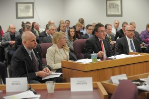 Sponsor of HB 398, Representative Jeanie Riddle (second from left), listens as representatives for Empire Electric, Ameren and Kansas City Power and Light testify for the proposal.  (Photo courtesy; TIm Bommel, Missouri House Communications)