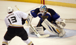 Anaheim Ducks Nick Bonino takes a shot for the winning goal against St. Louis Blues goaltender Brian Elliott in the shootout session. UPI/Bill Greenblatt
