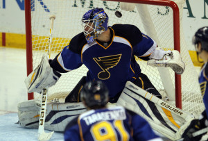 St. Louis Blues goaltender Brian Elliott can't stop a shot on goal by Los Angeles Kings Jarret Stoll for a goal in the third period.   UPI/Bill Greenblatt