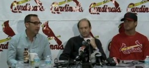 John Mozeliak (L) and Mike Matheny (R) have their contracts extended.  Bill DeWitt Jr. (C) made the announcement