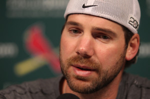 St. Louis Cardinals pitching ace Chris Carpenter talks to reporters about his health at Busch Stadium in St. Louis. UPI/Bill Greenblatt